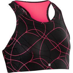 女童健身透氣運動內衣S900 - 黑色AOP