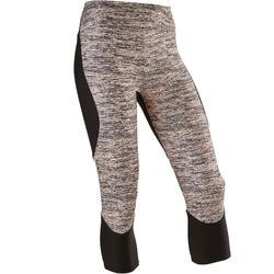 女童合成材質透氣健身七分褲S500 - 粉紅色