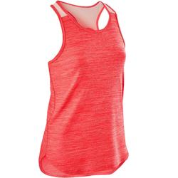 Camiseta Sin Mangas Deportiva Gimnasia Domyos S500 Niña Rosa Coral/Coral Pastel