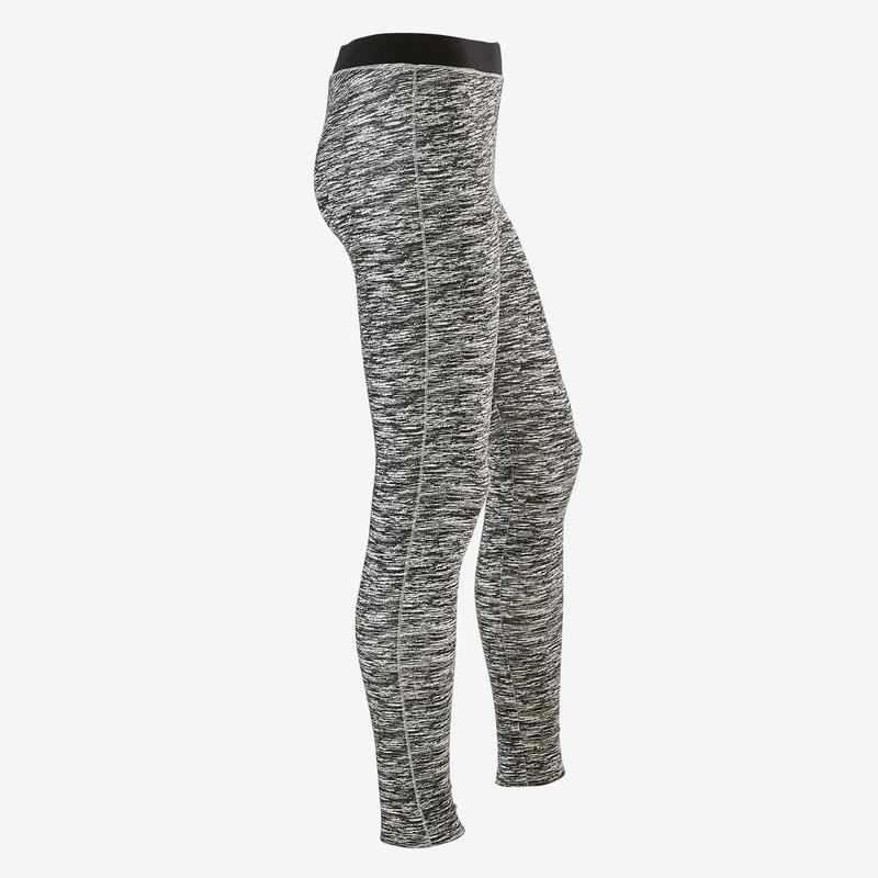 กางเกงเลกกิ้งเด็กผู้หญิงผ้าฝ้ายระบายอากาศได้ดีสำหรับกายบริหารทั่วไปรุ่น 500 (สีดำพิมพ์ลาย)