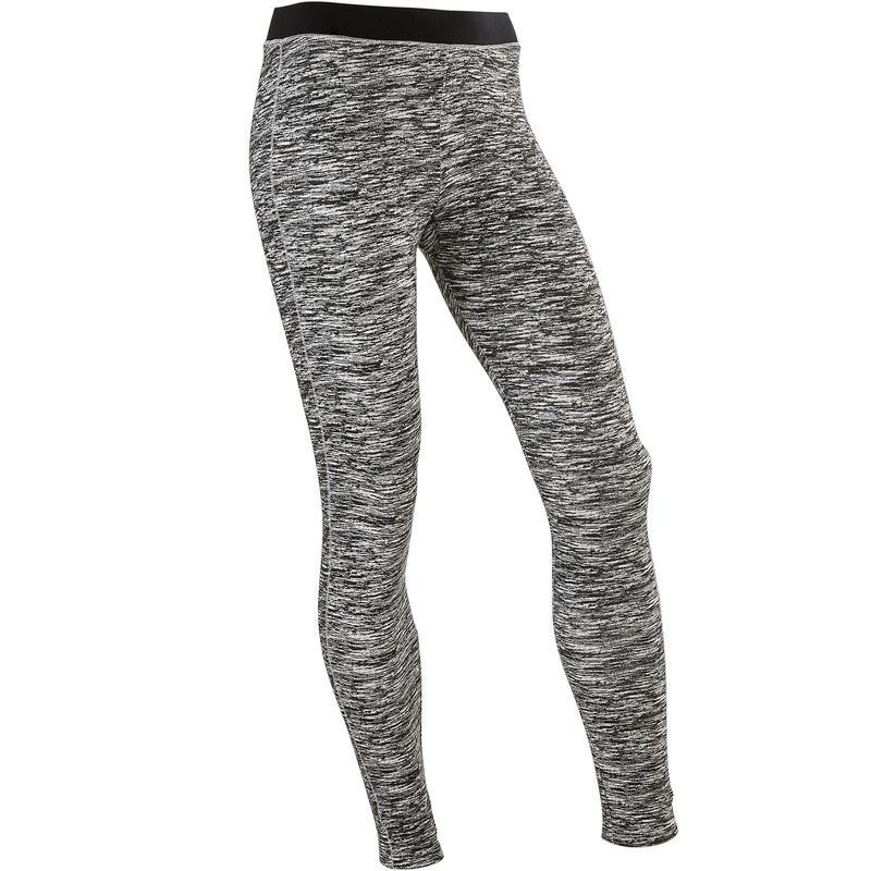 500 Breathable Cotton Gym Leggings - Black Print - Girls'