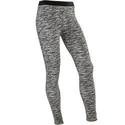 女童健身透氣棉質緊身褲500 - 黑色AOP