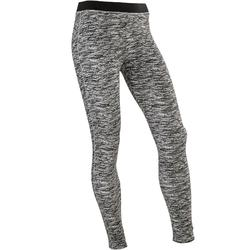500 Girls' Gym Breathable Cotton Leggings - Black AOP