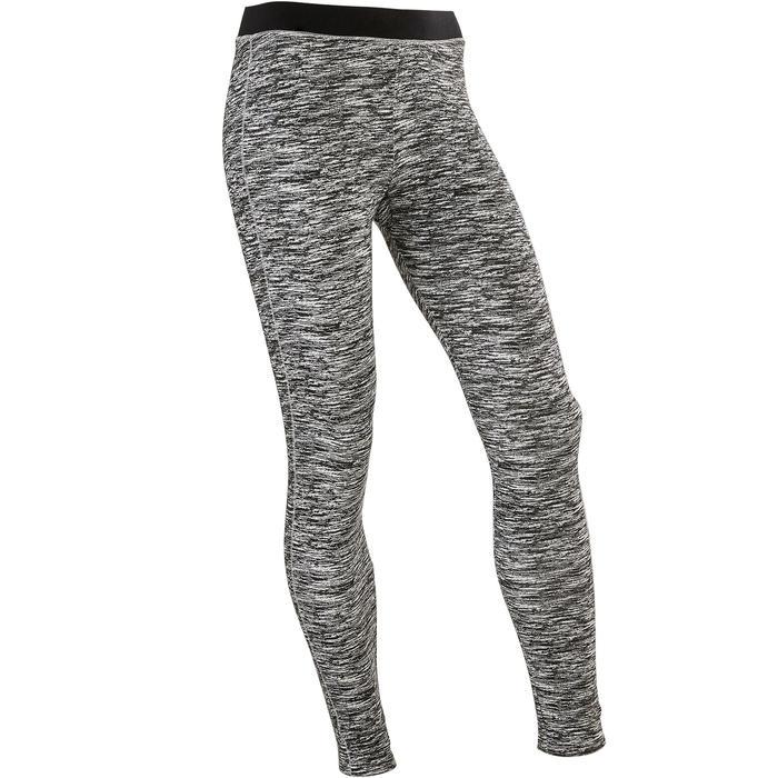 500 Girls' Gym Breathable Cotton Leggings - Black AOP