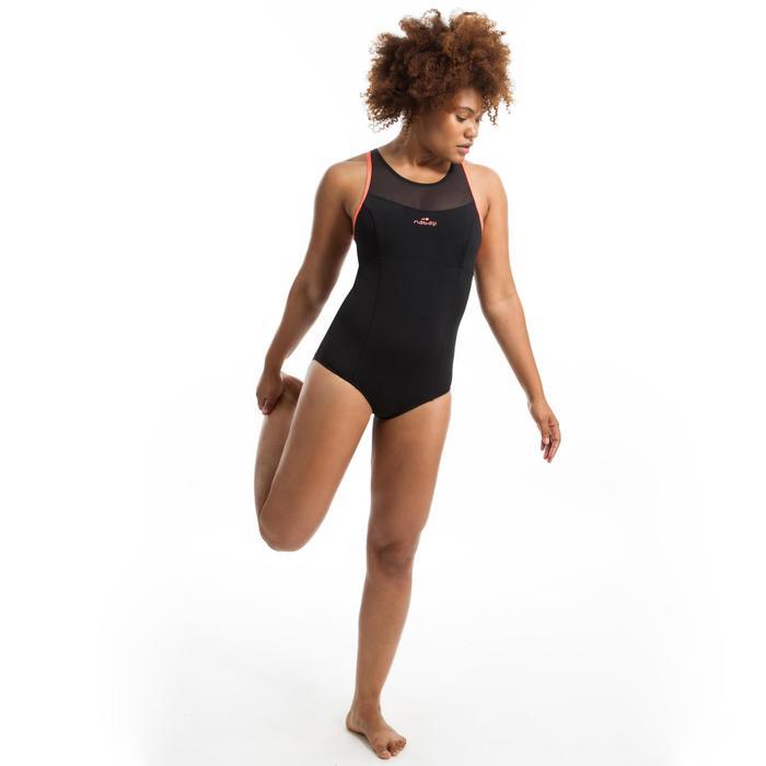 Maillot de bain une pièce d'Aquafitness femme Lena noir orange