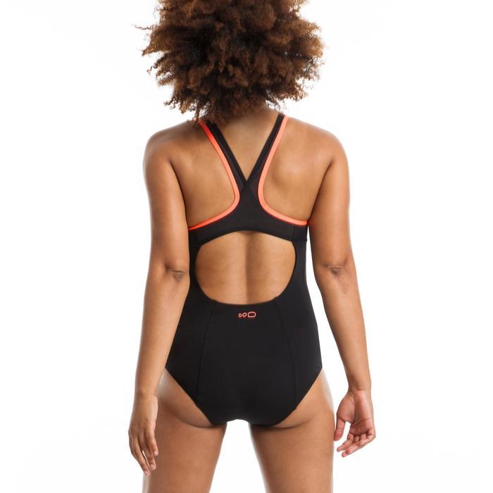 Badpak voor aquafitness dames Lena zwart/oranje