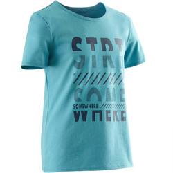 Gym T-shirt 100 met korte mouwen voor jongens lichtblauw met print