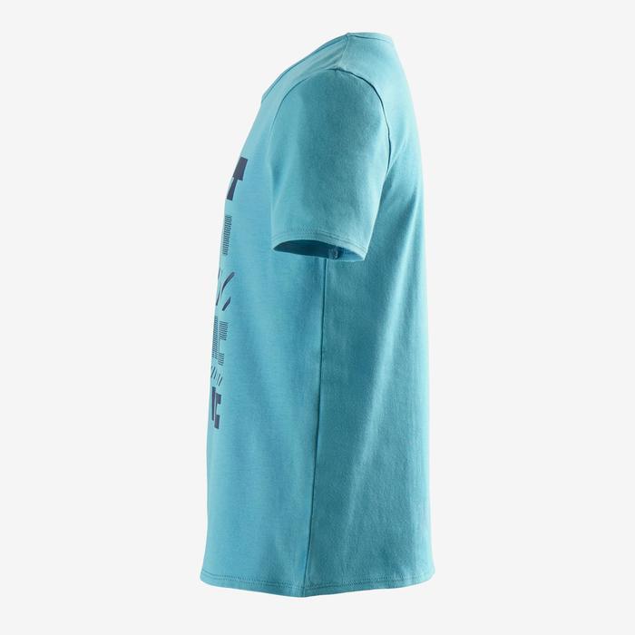 Camiseta de Manga Corta Gimnasia Domyos 100 Niño Azul Claro Estampado