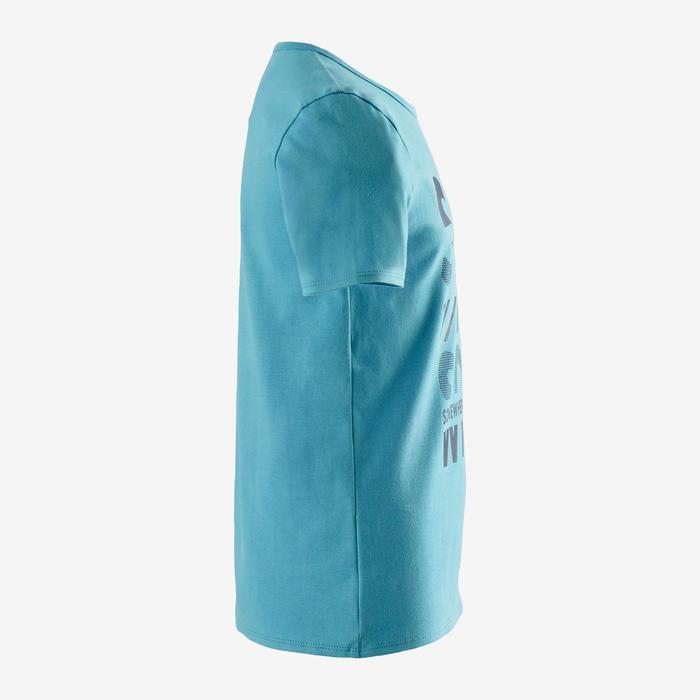 T-shirt met korte mouwen voor gym jongens 100 lichtblauw/opdruk in blauw