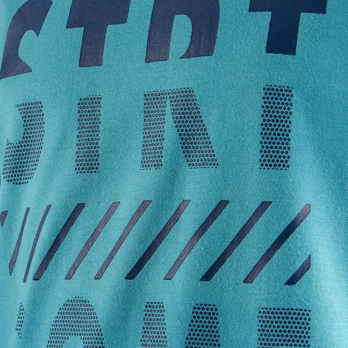 T-Shirt 100 Kurzarm Gym Kinder hellblau mit blauem Print
