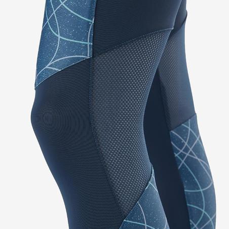 S900 Girls' Gym Breathable Leggings - Biru/Ungu