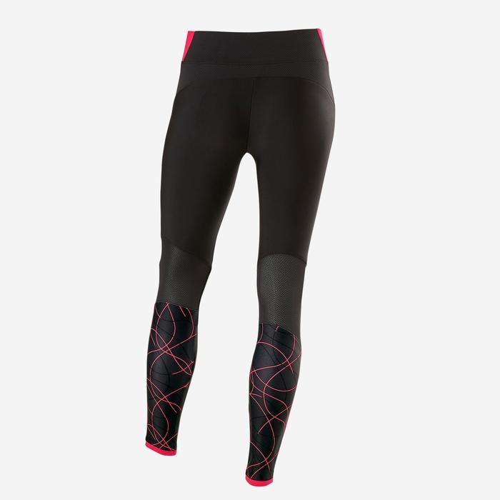 Gymlegging voor meisjes S900 ademend zwart/roze