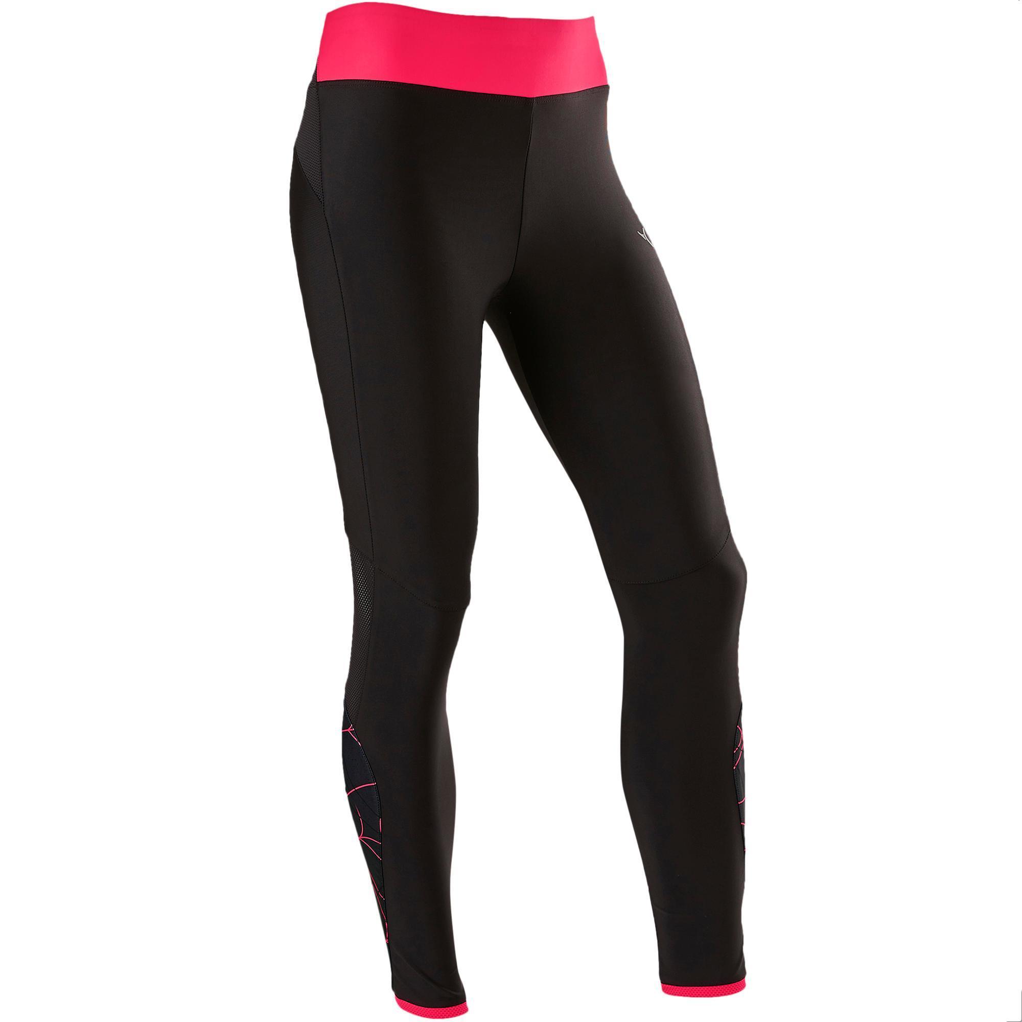 Domyos Gymlegging voor meisjes S900 ademend zwart/roze