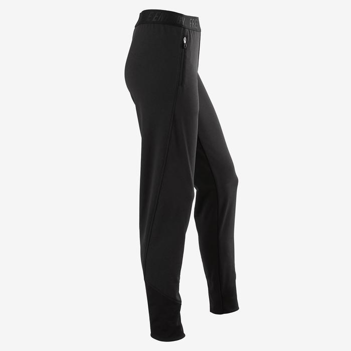 Warme ademende broek slim fit S900 meisjes GYM KINDEREN gemêleerd zwart