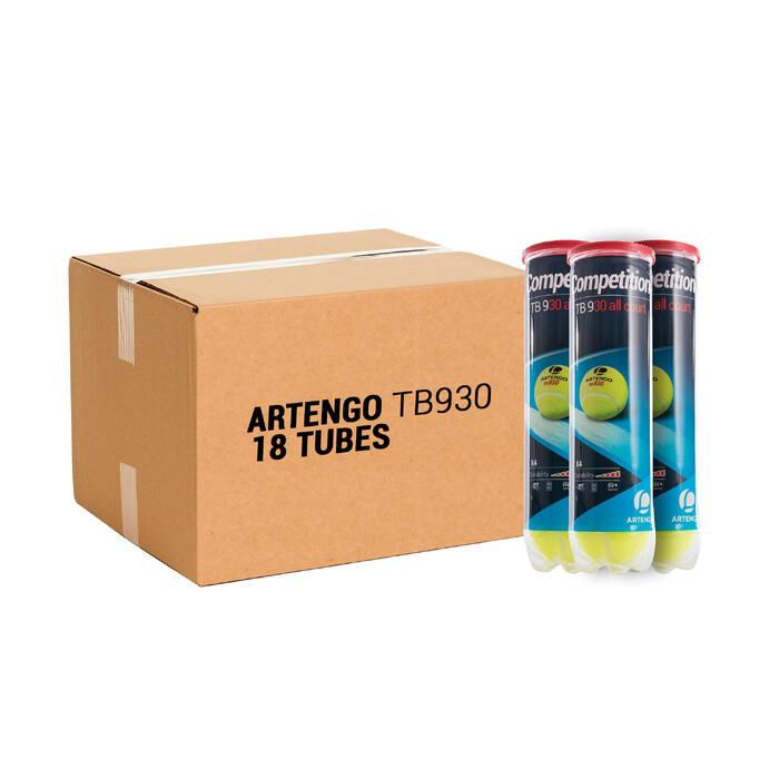 Tennisbal voor competitie TB930 18 kokers met 4 stuks geel