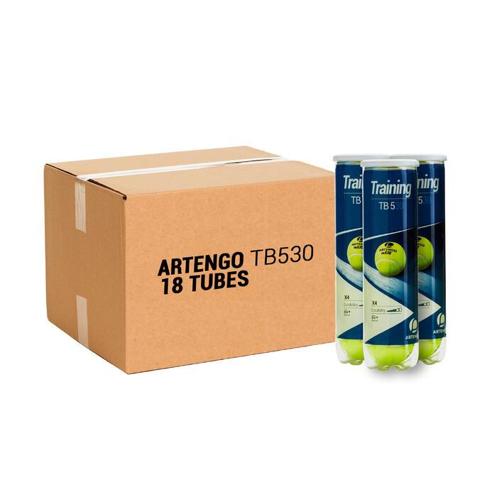 Tennisballen voor competitie TB 530 18 kokers van 4 stuks geel