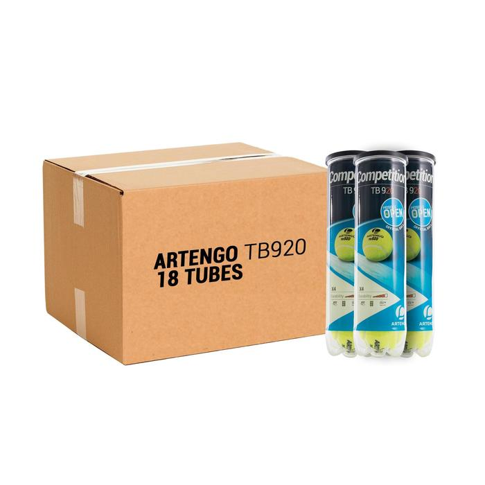Tennisballen voor competitie TB 920 18 kokers met 4 stuks geel