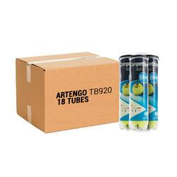 Tennisballen voor competitie TB 920 4 kokers met 18 stuks geel