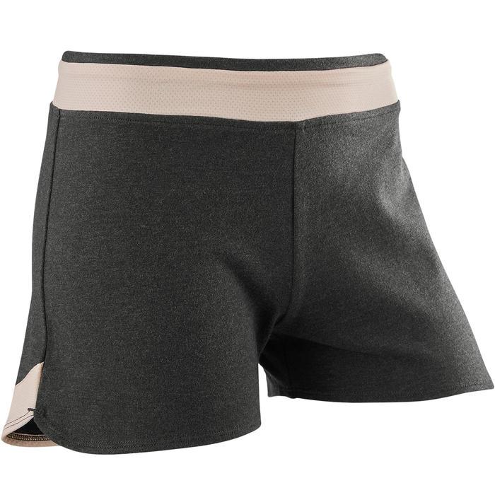 女童透氣棉質健身短褲500 - 灰色印花