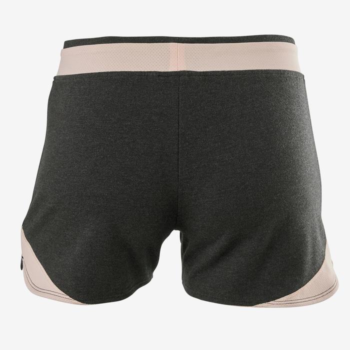 Sporthose kurz Baumwolle atmungsaktiv 500 Gym Kinder grau bedruckt