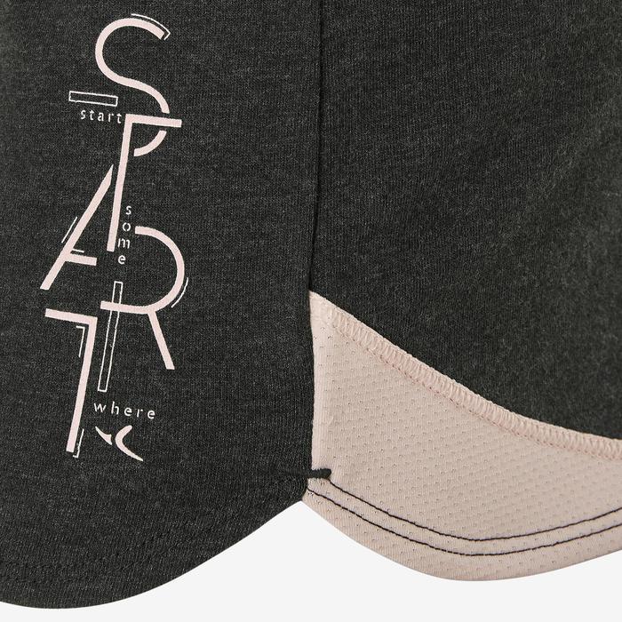 Ademende short voor gym meisjes 500 katoen grijs/opdruk