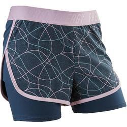 女童透氣健身短褲W900 - 紫色印花