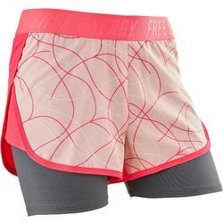 女童透氣健身短褲W900 - 粉色印花