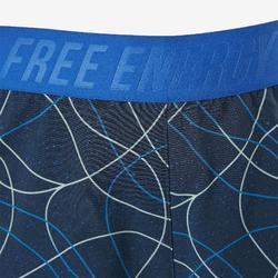 Ademende short W900 meisjes GYM KINDEREN blauw print