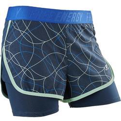 Pantalón Corto Chándal Short Gimnasia Domyos W900 Niña Azul/Azul Turquesa