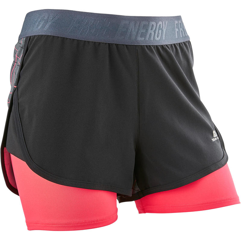 W900 Girls' Breathable Gym Shorts - Black Print