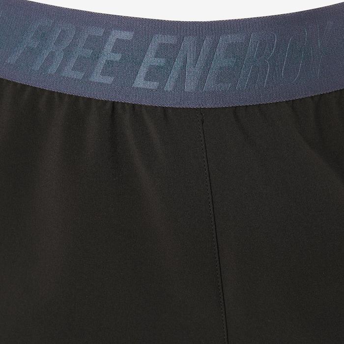 Sporthose kurz W900 Gym Kinder schwarz mit Print