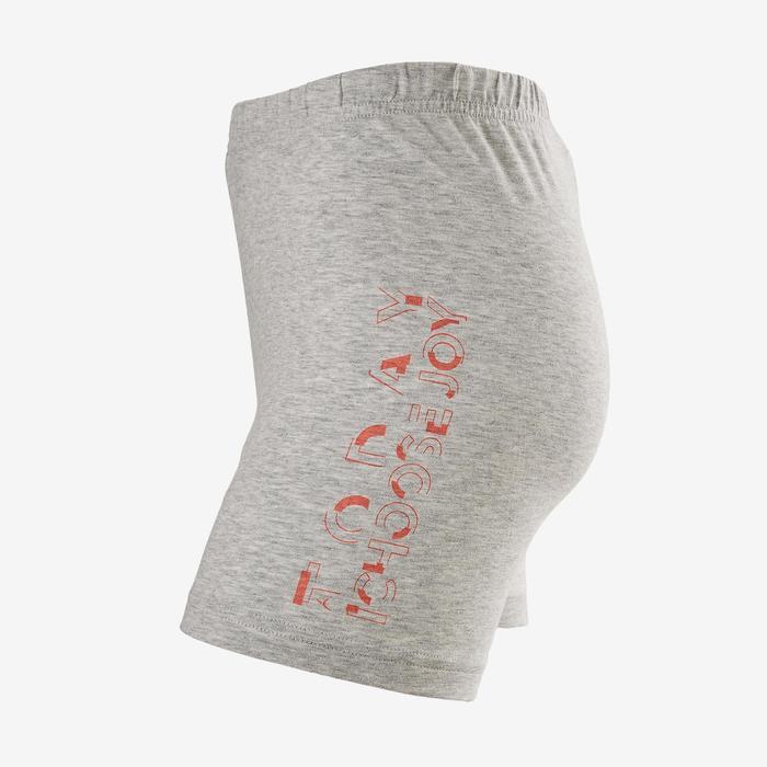 Sporthose kurz 100 Gym Kinder grau mit Print
