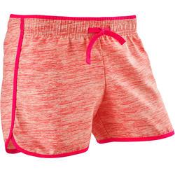 女童透氣健身短褲W500 - 粉色印花
