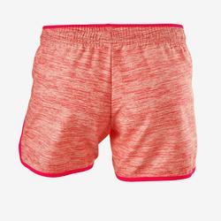 Ademende short voor gym meisjes W500 roze/print