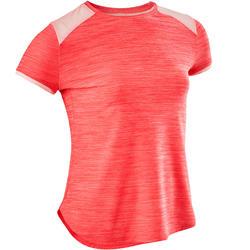 Camiseta Manga Corta Deportiva Gimnasia Domyos S500 Niña Rosa Coral Sintética