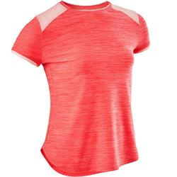 S500 Girls' Gym Breathable Synthetic Short-Sleeved T-Shirt - Pink
