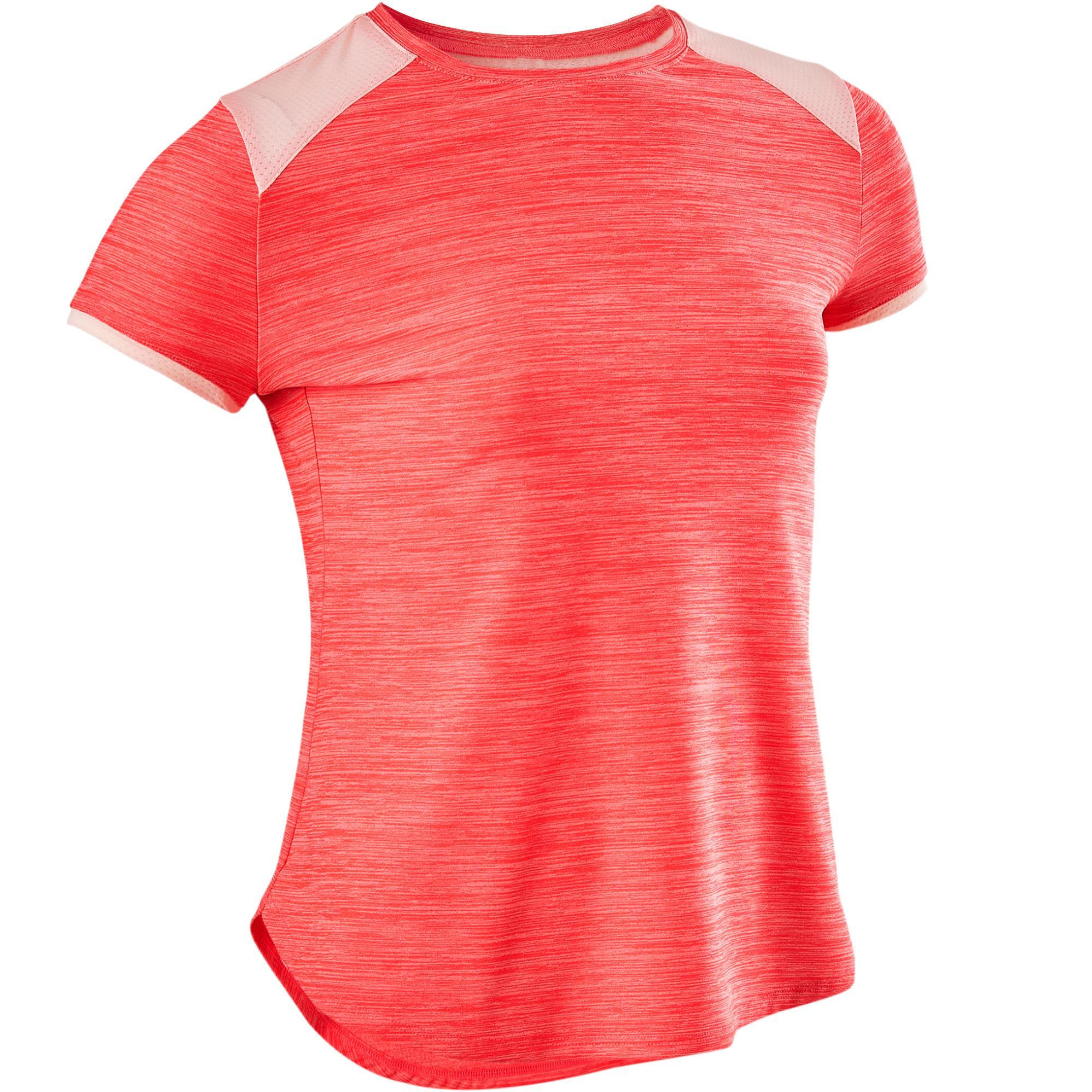 Domyos T-shirt korte mouwen ademend S500 meisjes GYM KINDEREN roze