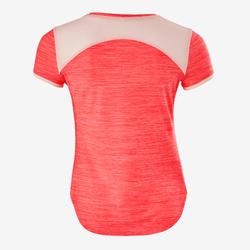 女童透氣合成材質健身短袖T恤S500 - 粉紅色