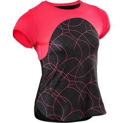 94c5c2c54 Camiseta Manga Corta Deportiva Gimnasia Domyos S900 Niña Negro Rosal Coral  Fluor