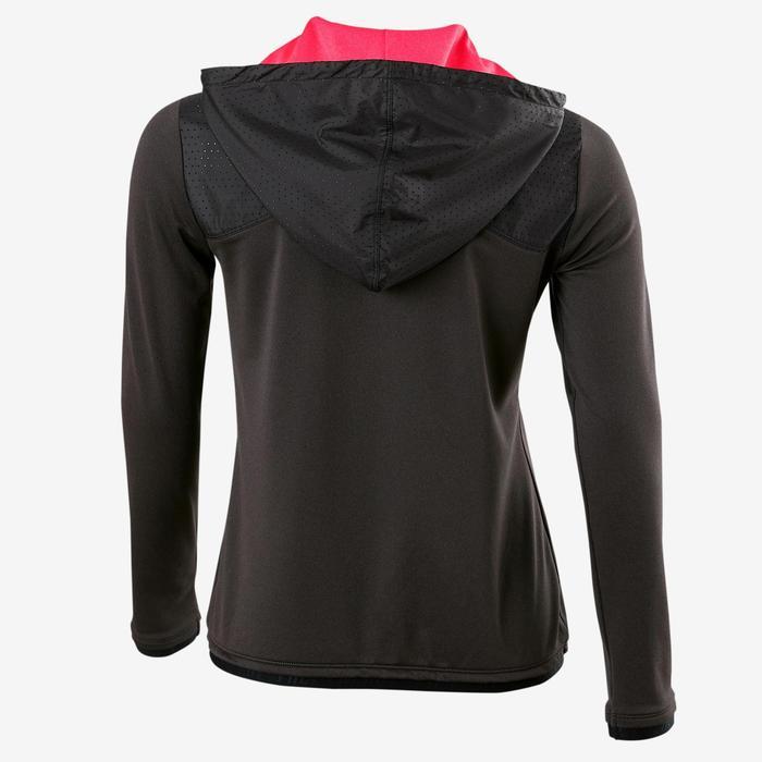 Warm ademend vest met capuchon S900 meisjes GYM KINDEREN gemêleerd donkergrijs
