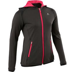 S900 Girls' Warm Breathable Hooded Exercise Jacket - Mottled Dark Grey