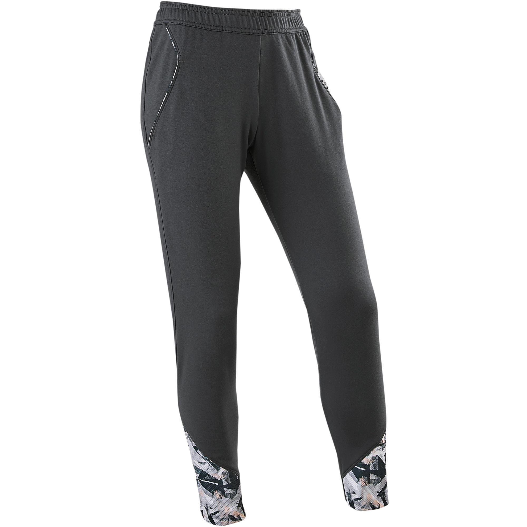 Domyos Warme ademende broek regular fit S900 meisjes GYM KINDEREN grijs met print