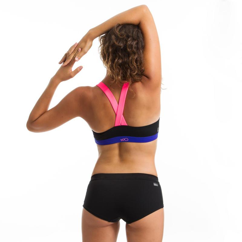 Anna Women's Aquafitness Swim Top - Black Pink