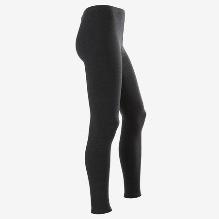 100 Gym Leggings - Printed Dark Grey - Girls'