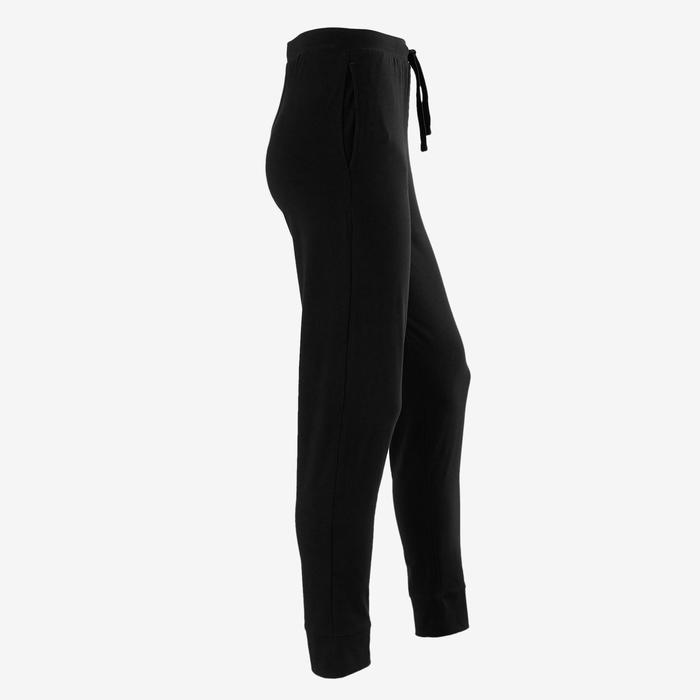 Lichte joggingbroek voor gym meisjes 100 slim fit zwart/opdruk
