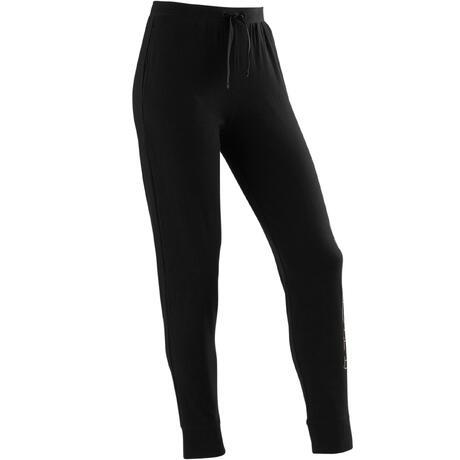 d09fa48acb88c Pantalon coton respirant léger Slim 500 fille GYM ENFANT noir imprimé    Domyos by Decathlon