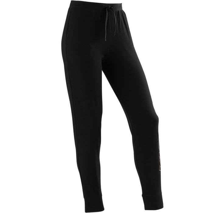 Trainingshose Slim 500 Kinder schwarz mit Print