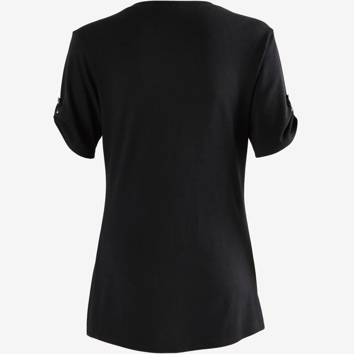 T-shirt 510 pilates en lichte gym dames zwart print