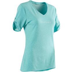 女款皮拉提斯與溫和健身T恤510 - 藍色印花