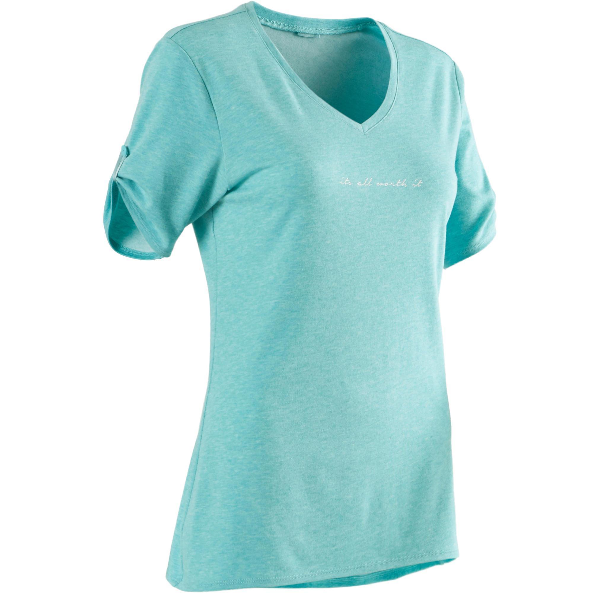 Domyos T-shirt 510 pilates en lichte gym dames blauw print